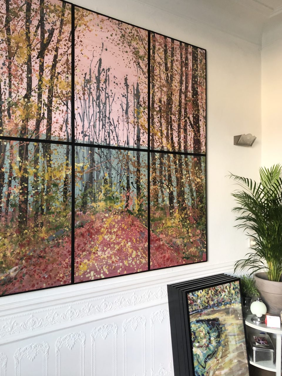 Automne rose / 6, final, 180 cm x 180 cm, techniques mixtes